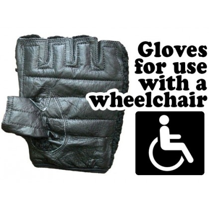 Wheelchair Genuine Leather Ventilated Lightweight Gloves - Black
