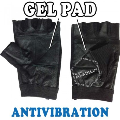 Wheelchair Genuine Leather Short Finger Spandex Gel Pad Anti-Vibration Gloves - Black