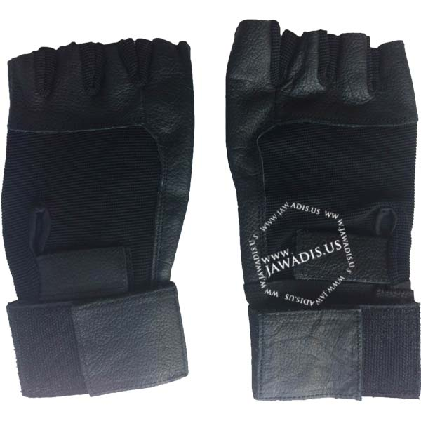 black leather spandex fingerless antivibration gloves