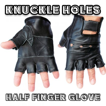 Men's Fingerless Lambskin Leather Knuckle Hole Gloves - Size S