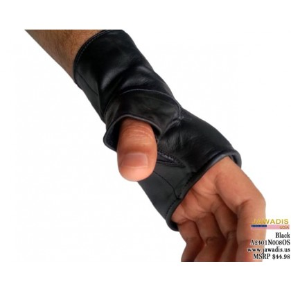 Jawadis Black Genuine Lambskin Punk Boxing Biker Fingerless Gloves