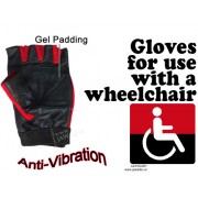 Wheelchair Genuine Leather Short Finger Spandex Gel Pad Anti-Vibration Gloves - Red & Black
