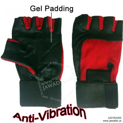 Black & Red Spandex Fingerless AntiVibration Gloves Wrist Support