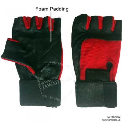 Wheelchair Genuine Leather Spandex Gel Pad Anti-Vibration Gloves, Long Wrist Wrap - Red & Black