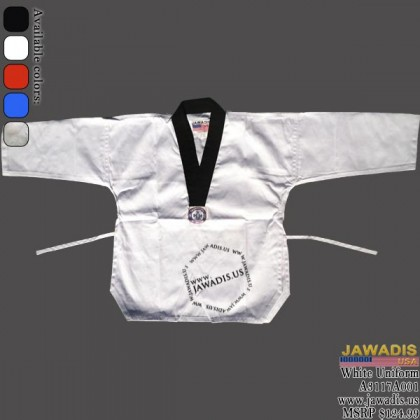 Jawadis Black V-Neck White Middleweight Judo Gi Uniform with Belt