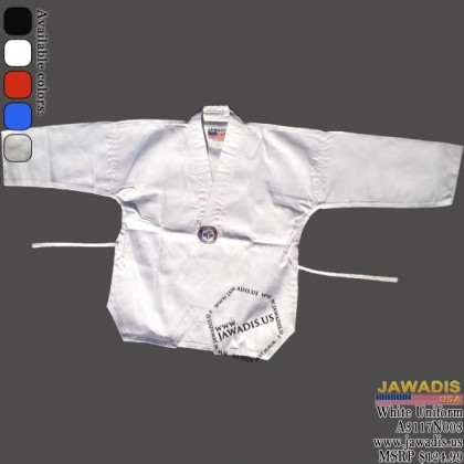 Jawadis V-Neck White Single Weave Judo Gi with Belt