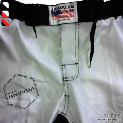 Jawadis White Fightgear MMA Fight Shorts Best Kick Boxing Shorts