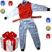 Jawadis Adult White Orange Racing Overalls for Men Kart Clothing - Christmas Gift