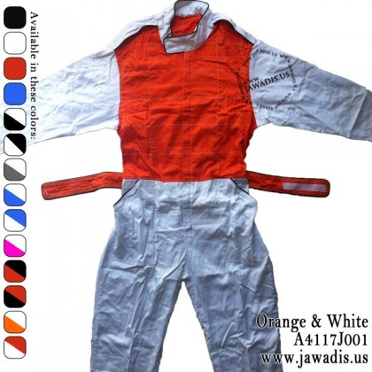 Jawadis Adult White Orange Racing Overalls for Men Kart Clothing