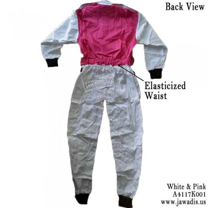 Jawadis Adult White Pink Racing Overalls, Go Kart Clothing for Sale