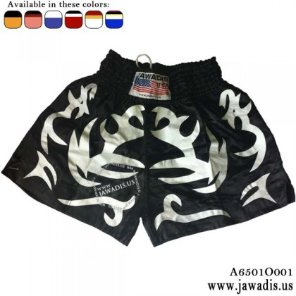 Jawadis Best Muay Thai Shorts - Black with White Geometric Design