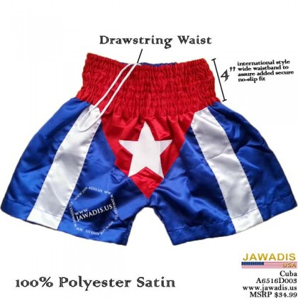 "Cuban Flag Boxing Shorts Trunks for Men, Stitched Star, Red 4"" Waistband"