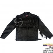 Adult leather western fringe jacket - Black - LAST ONE