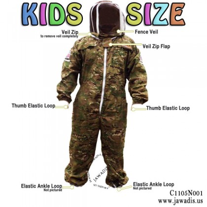 Kids Full Bee Suit with Fence Style Veil - Camouflage Green