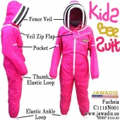 Kids Full Bee Suit with 2 Fence Style Veils - Pink / Fuchsia