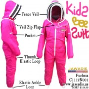 Kids Full Beekeeping Bee Suit with 2 Fence Style Veils - Pink / Fuchsia Size M - Kids FREE Beekeeper Gloves