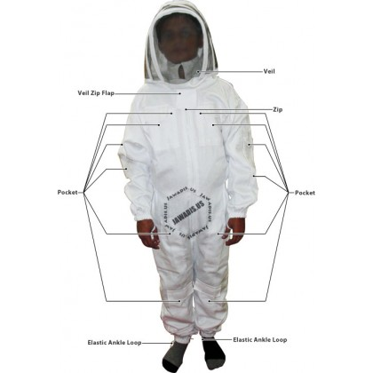 Kids Full Bee Suit with Fence Style Veil - White