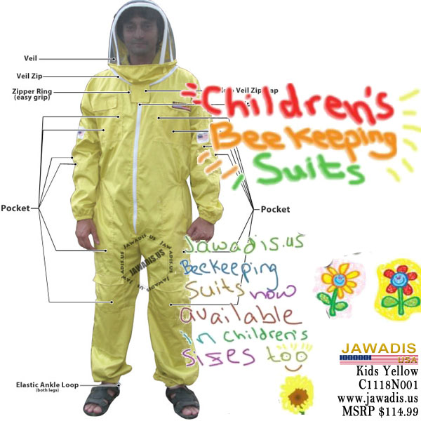 Discount Large Yellow Child Beekeeping Bee Suit for Kids Beekeeper Fence Veil