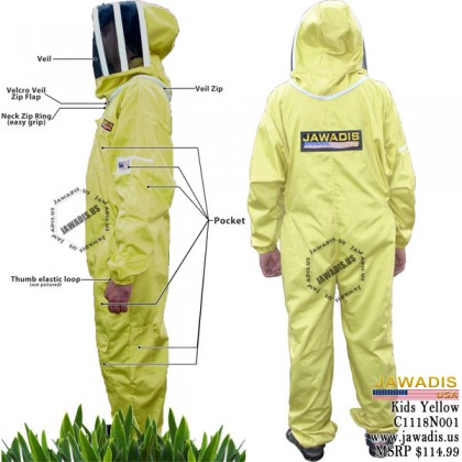 Children's Beekeeping Bee Suit with Fence Style Veil - Yellow