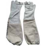 Kids' 100% Cowhide Leather Bee Gloves - White