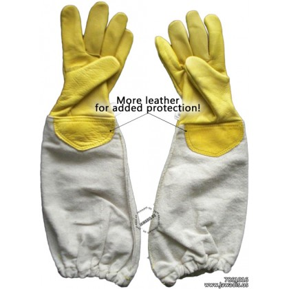 Kids 100% Cowhide Leather Bee Gloves - Yellow