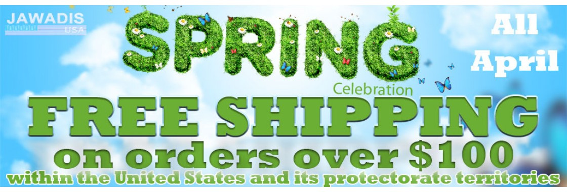 April Free Shipping on orders over $100! Only at Jawadis!