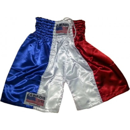 Boxing Trunks, Gym Shorts for Men - Blue, White, & Red (vertical) - Size large.