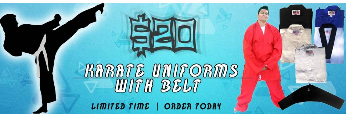 $20 Lightweight karate uniforms for children and adults.