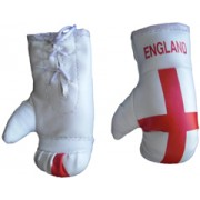 Mini Boxing Gloves - England - White Pair
