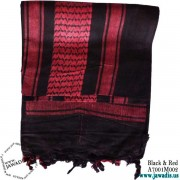 Shemagh Wrap Styles Scarf Keffiyeh, Military Head Scarf - Black & Red