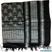 Shemagh Wrap Scarf Keffiyeh, Military Head Scarf  - Black & White Skulls