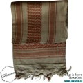 Shemagh Wrap, Keffiyeh, Military Head Scarf  - Beige & Brown