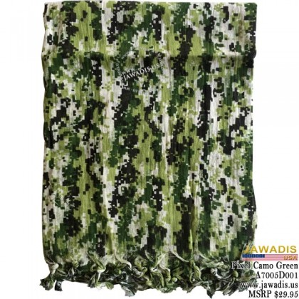 Shemagh Wrap, Keffiyeh, Military Head Scarf  - Pixel Camouflage Green