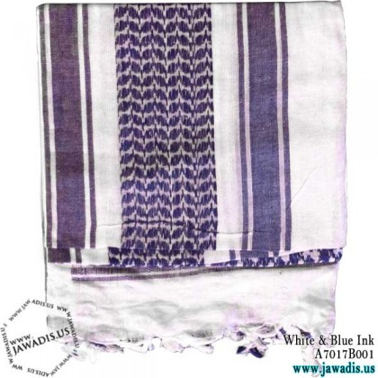 Shemagh Wrap, Keffiyeh, Military Head Scarf  - White & Blue Ink