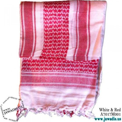 Shemagh Wrap, Keffiyeh, Military Head Scarf  - White & Red