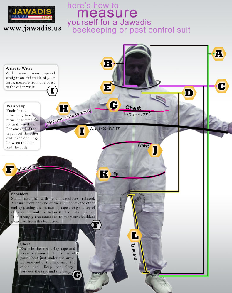Here's how to measure yourself for a Jawadis bee suit or pest control suit