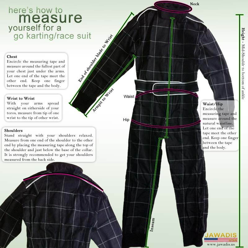 Jawadis how-to measure yourself for a go-karting car racing suit