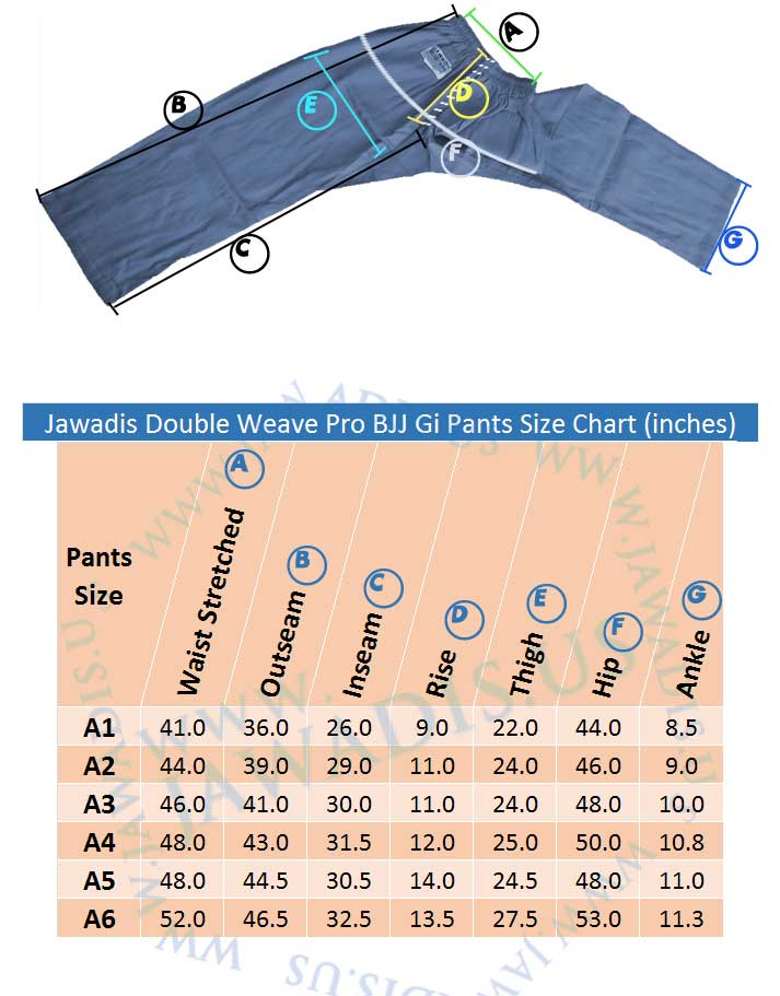 Jawadis pro grade BJJ pants size chart in inches