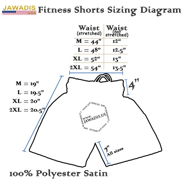 Jawadis Boxing Shorts Trunks Sizing Dragram
