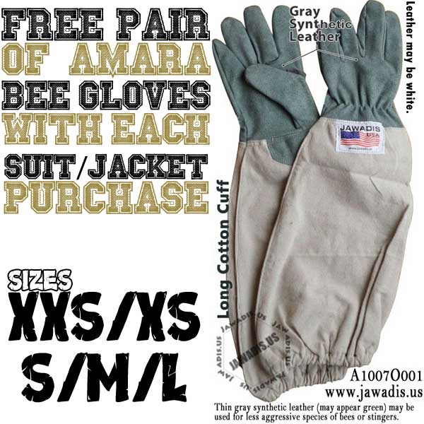 Free pair bee gloves with each bee suit purchase. Order now!