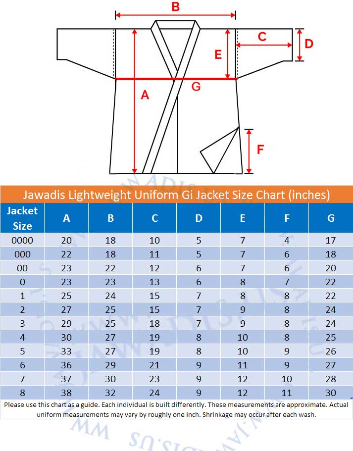 Jawadis Lightweight Uniform Gi Jacket Size Chart