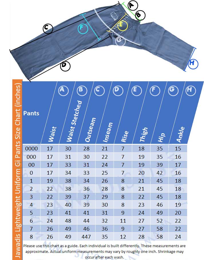 Jawadis Lightweight Uniform Karate Gi Pants Size Chart