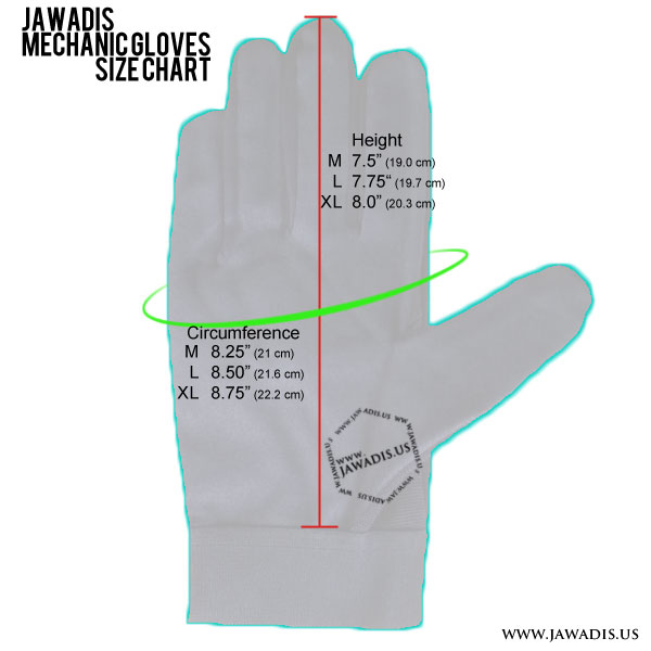 Jawadis mechanic gloves size chart