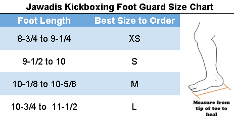 Jawadis kickboxing Foot Guard Size Chart