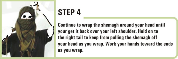 How to wear a keffiyeh on head - step 4