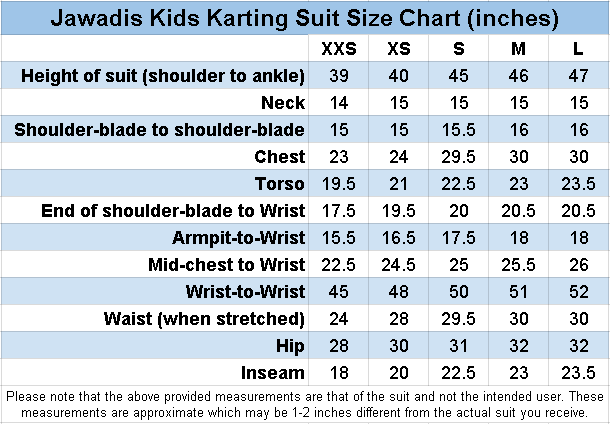 Jawadis children's karting suit size chart in inches